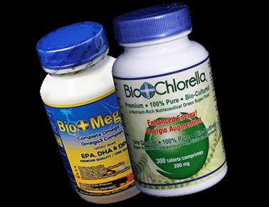 Biomega and Biochlorella bottle